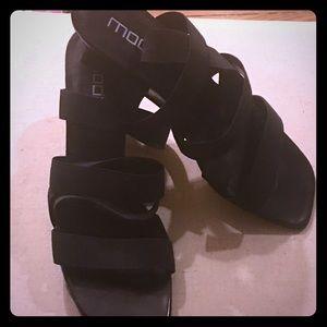 Black Moda Spana Strappy Wedges 13M